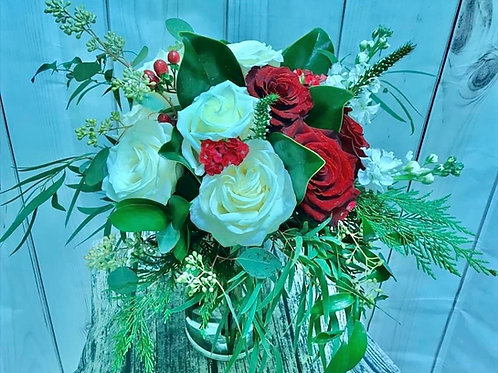 Dozen Red and White Winter Rose Bouquet