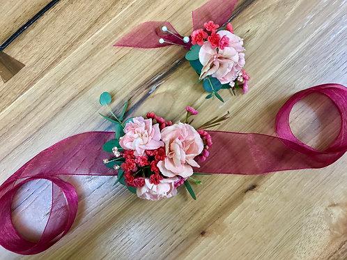 Corsage & Boutonniere Set Pinks