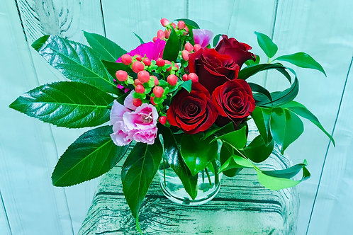 Romantic Reds and Pinks in a vase