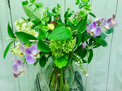 Fresh Green and LAvender in a Vase