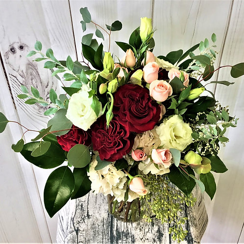 Blush and Burgundy Bridal Bouquet