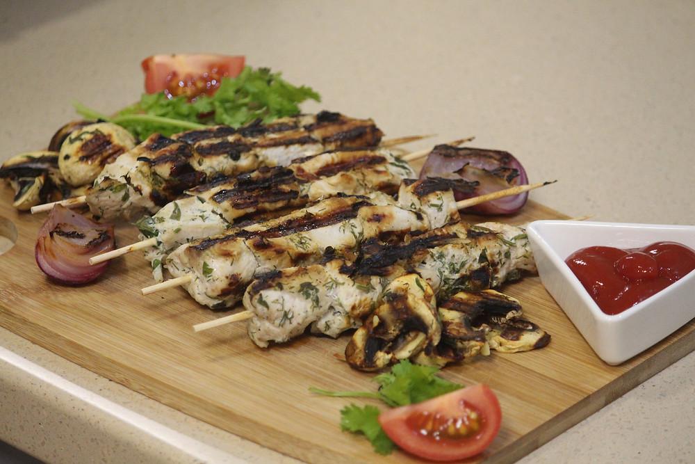Простой пп рецепт шашлычков из индейки с овощами гриль
