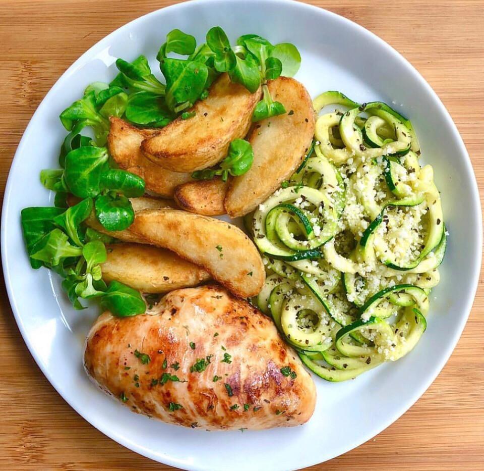Простые рецепты пп.Рецепт запеченой куриной грудки с авокадо и картофелем