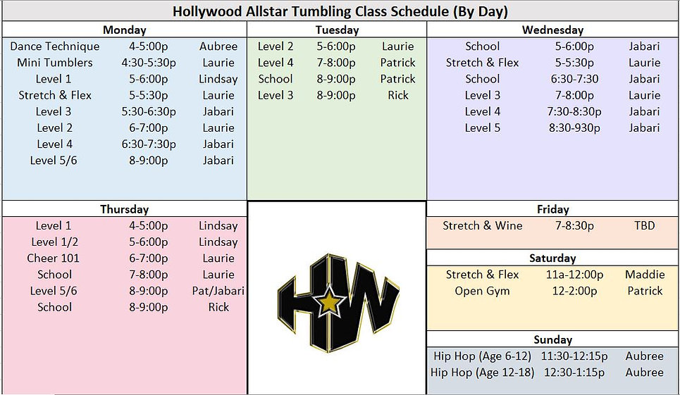 Hollywood Tumbling Weekly Schedule_Janua