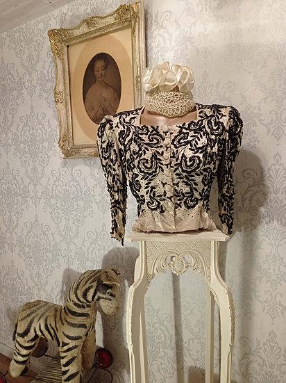 Sublime corsage ancien 1900's en soie, satin et perles noires