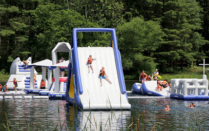 Enjoying the Aquaglide Obstacle Course