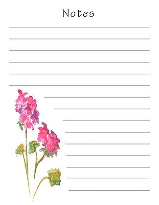 Pink Geranium Notepad
