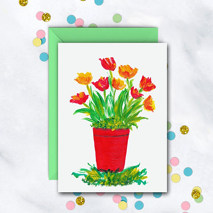 Red Floral Pot Notecard