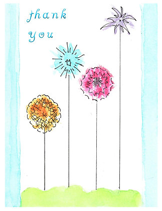 Whimsical Flowers TY Notecard