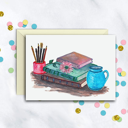 Books And Pens Notecard