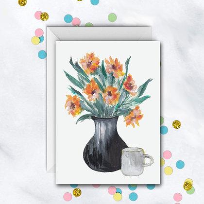 Orange Flowers Notecard
