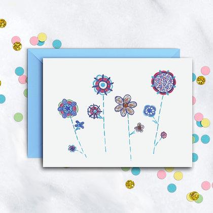 Blue Flowers Notecard