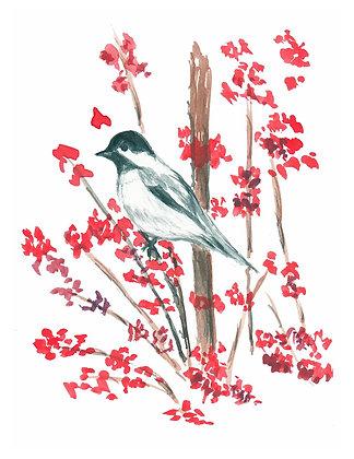 Bird on Branch Notecard