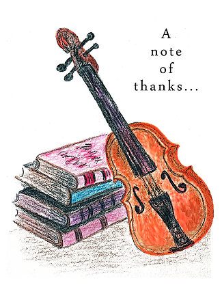 Violin and Books TY Notecard