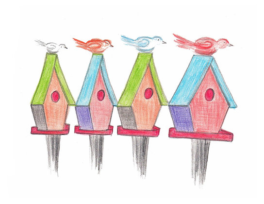 Birdhouses Notecard