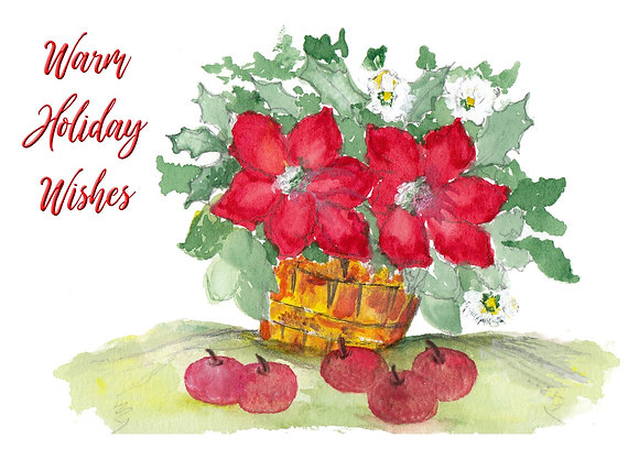 Poinsettia Basket Card