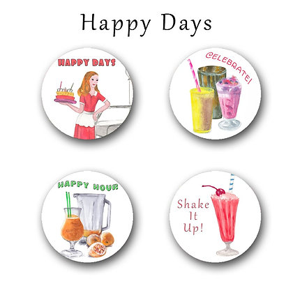 Happy Days Button Magnets