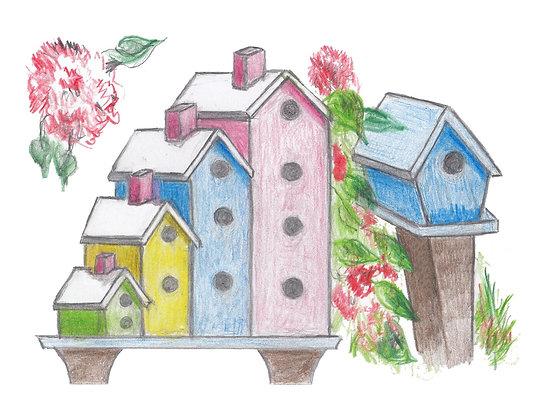 Birdhouses Notecard
