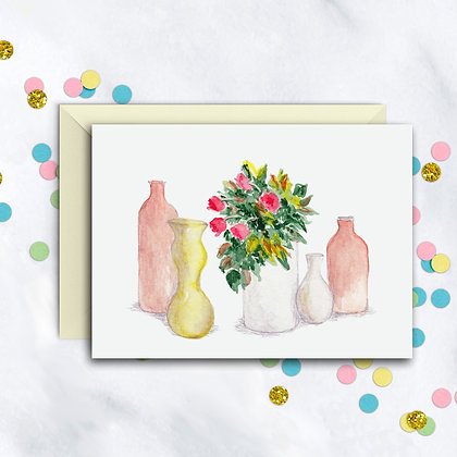 Flowers and Bottles Card