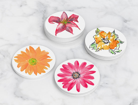 Bold Flowers Coasters