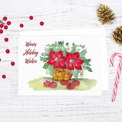 Poinsettia Basket Card