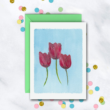Red Tulips Notecard