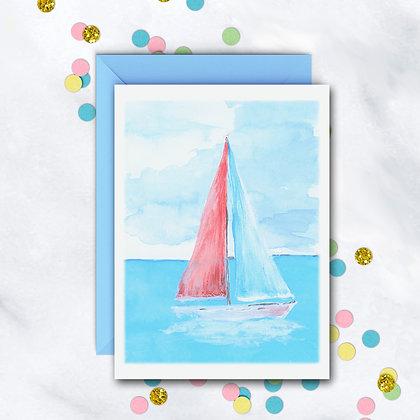 Pastel Sailboat Notecard