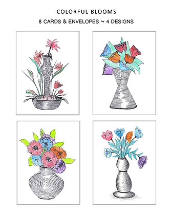 Colorful Blooms Note Set
