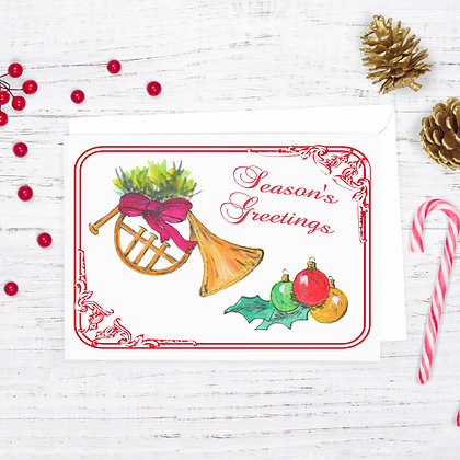 Holiday French Horn Card