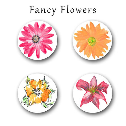 Fancy Flowers Button Magnets