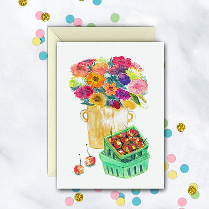 Flowers and Cherries Card
