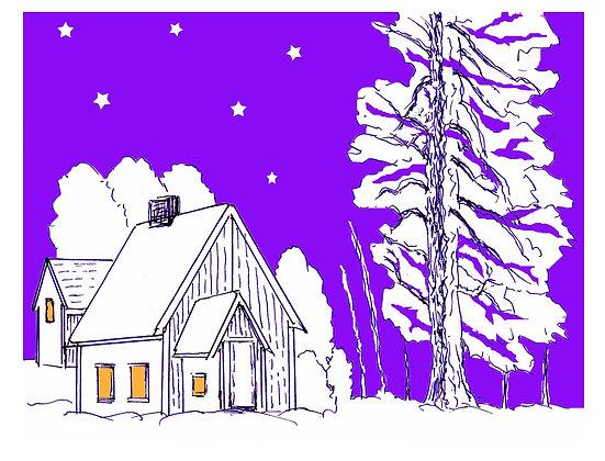 Moonlit Cottage Notecard