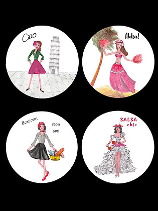 Hip Chicks Around The World Coasters