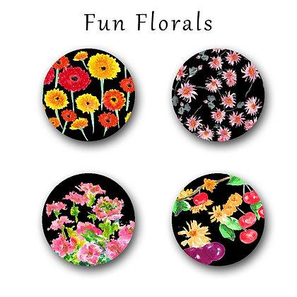 Fun Florals Button Magnets