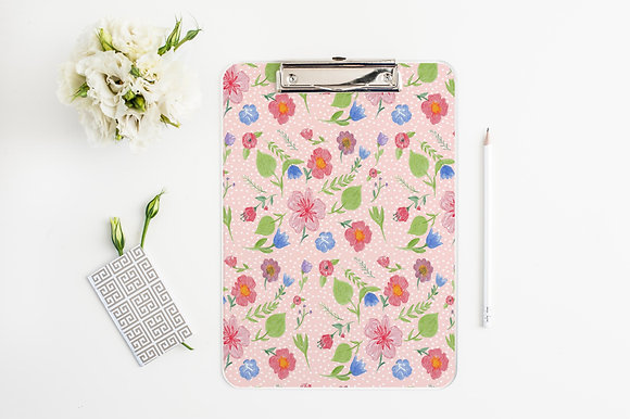 Pink Floral Clipboard