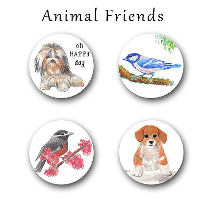 Animal Friends Button Magnets