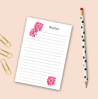 Mod Pink Flowers Notepad