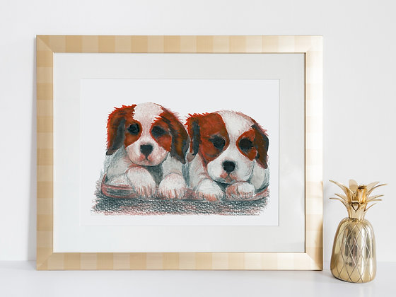 Twin Dogs Art Print