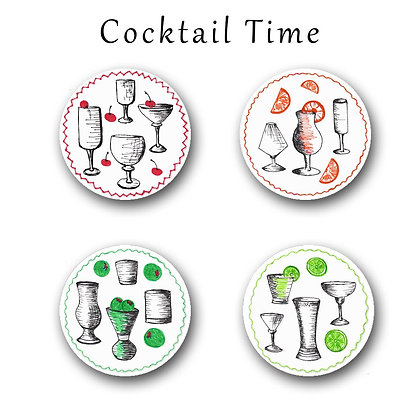 Cocktail Time Button Magnets