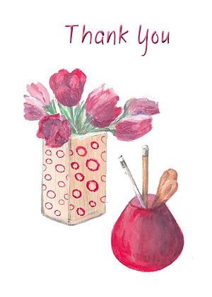 Tulips and Pencils Card
