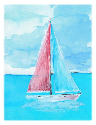Pastel Sailboat Notecard