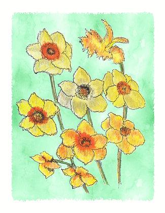 Dancing Daffodils Notecard