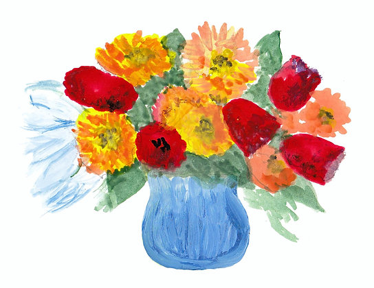 Colorful Flowers Notecard