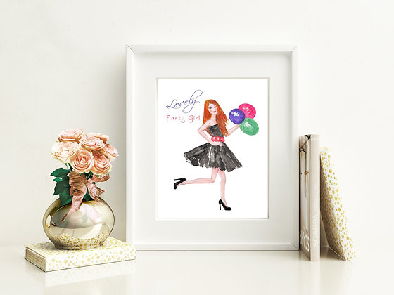 Lovely Party Girl Art Print