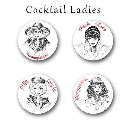 Cocktail Ladies Button Magnets