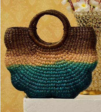 #4 Water Hyacinth Bag. Multi coloured. Shell shape
