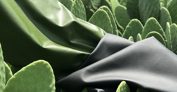 Cactus Leather - Matt Black/Backing rPET & Recycled Cotton