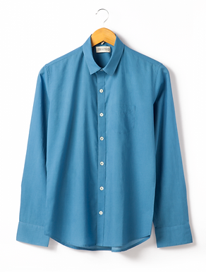 Classic Shirt. INDIGO SKY. GOTS Organic Cotton; Hand Dyed w.Plant Dyes.