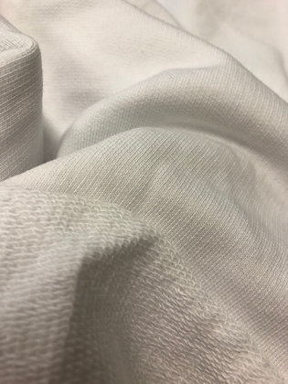 100m White. Snug Organic Cotton UnBrushed Fleece Single Side Terry, 320/330gsm
