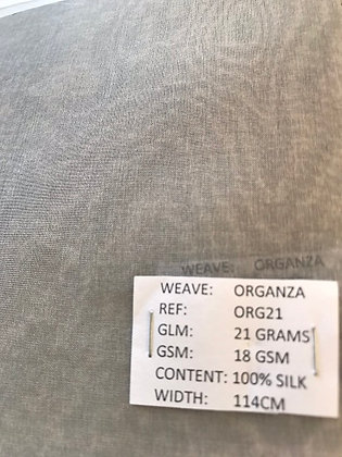 100% Peace Silk. Organza. WHITE. S5.ORG21W